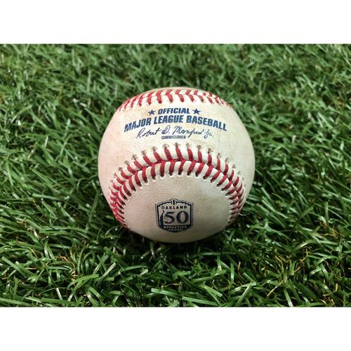 Photo of Game Used Baseball: Jaime Schultz MLB Debut - May 29, 2018 at OAK