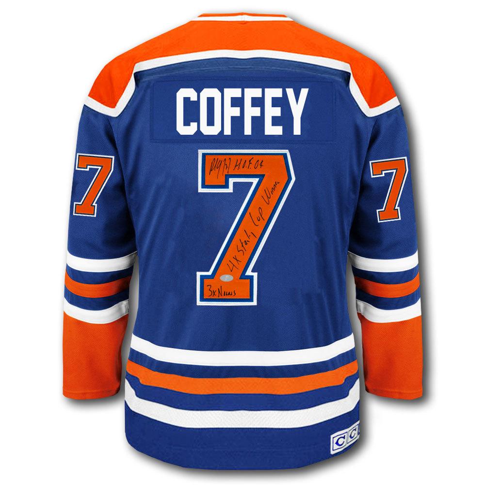 - Jersey Stats Coffey Edmonton Nhl Paul Oilers Auctions Ccm Autographed