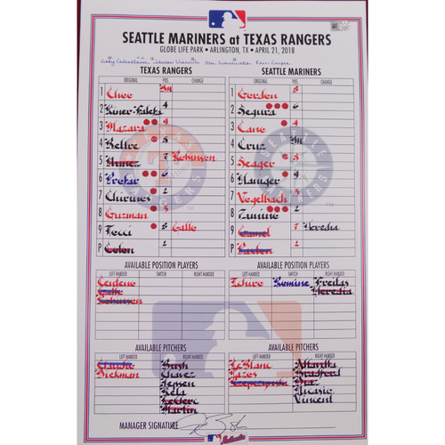 Photo of Mariners at Rangers - 4/21/18 - Game-Used Lineup Card