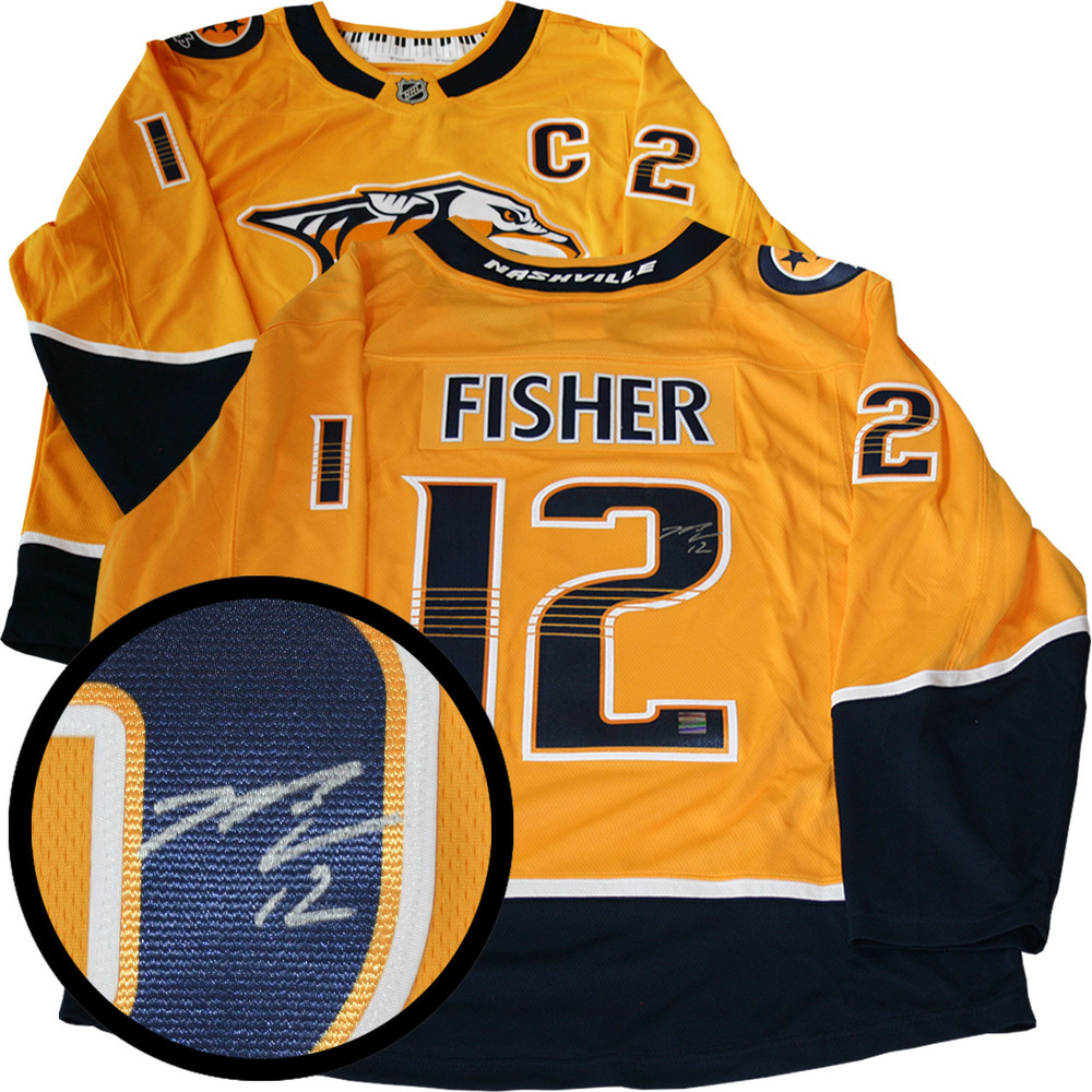 Mike Fisher Signed Jersey Predators Replica Yellow 2017-2018 Fanatics