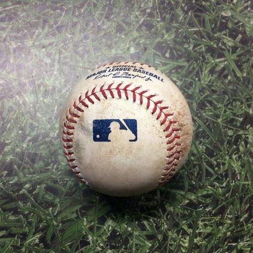 Photo of Game-Used Baseball WSH@MIL 05/06/19 - Max Scherzer - Jhoulys Chacin: Strikeout