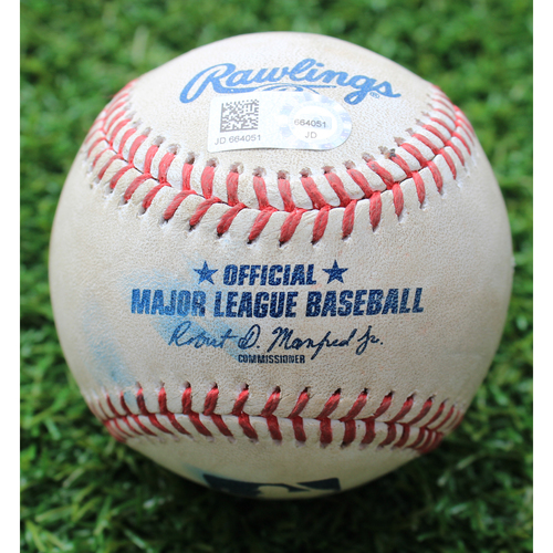 Photo of Game-Used Baseball: Cory Gearrin Pitched 240th Career Strikeout (SEA @ KC - 4/11/19)