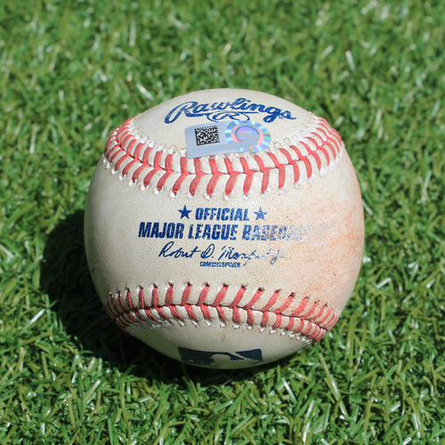 Photo of Game-Used Baseball: Tyler Naquin 211th Career Hit and Francisco Lindor 773rd Career Hit (CLE @ KC - 7/27/19)