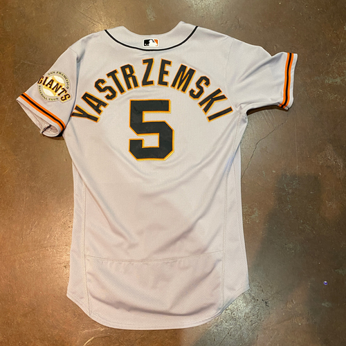 Photo of 2021 Game Used Road Jersey worn by #5 Mike Yastrzemski on 4/1 @ SEA - 2021 Opening Day - 5/16 @ PIT - HR & 5/17 @ CIN - HR - Size 42