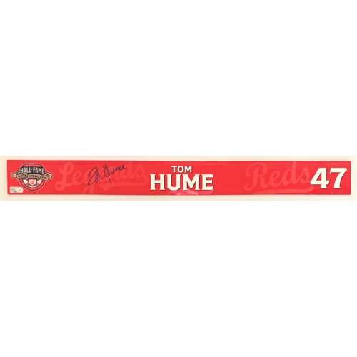 Photo of Tom Hume - Game-used and Autographed Locker Name Plate: 2021 Cincinnati Reds Hall of Fame Legends Game