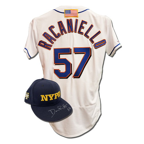 Photo of Dave Racaniello #57 - Autographed Game Used First Responder Hat and Game Used White Commemorative Jersey with American Flag Patch - Mets vs. Yankees - 9/11/2021
