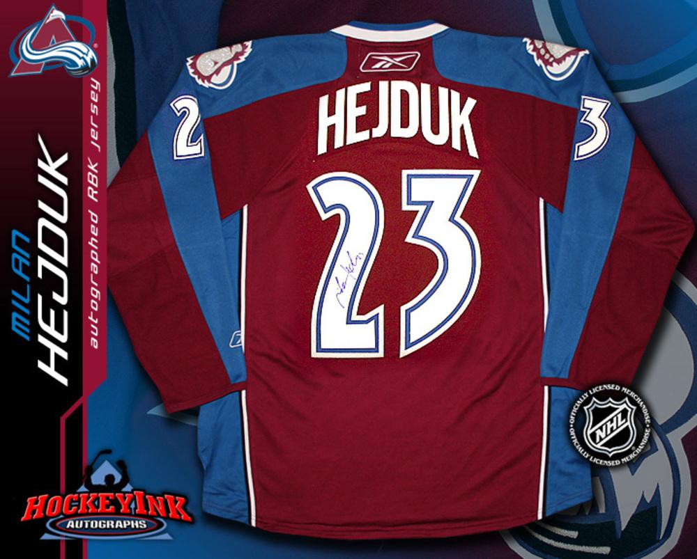 MILAN HEJDUK Signed RBK Premier Burgundy Jersey - Colorado Avalanche
