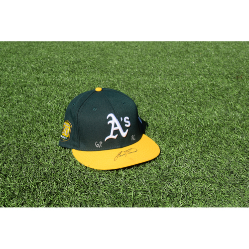 Photo of Oakland Athletics Game Used Autographed Lou Trivino 50th Anniversary Cap