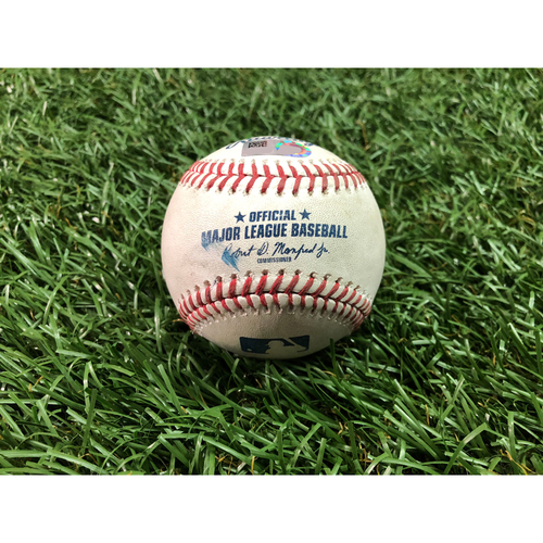 Photo of Game Used Baseball: Diego Castillo MLB Debut - Diego Castillo pitched ball to Trea Turner - June 6, 2018 at WSH