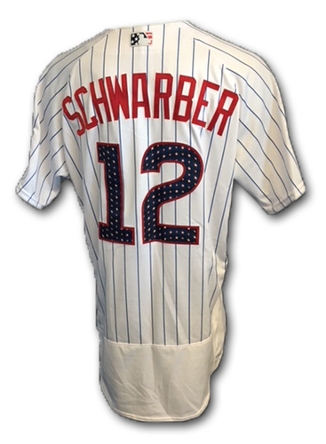 Photo of Kyle Schwarber Stars and Stripes Game-Used Jersey -- Tigers vs. Cubs -- 7/4/18