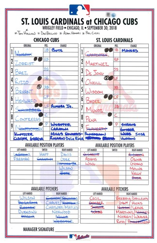 Photo of Game-Used Lineup Card -- Game 162 -- Cubs Last Game of Season -- Rizzo 4 for 4 -- Baez 2 Hits -- Cardinals vs. Cubs -- 9/30/18