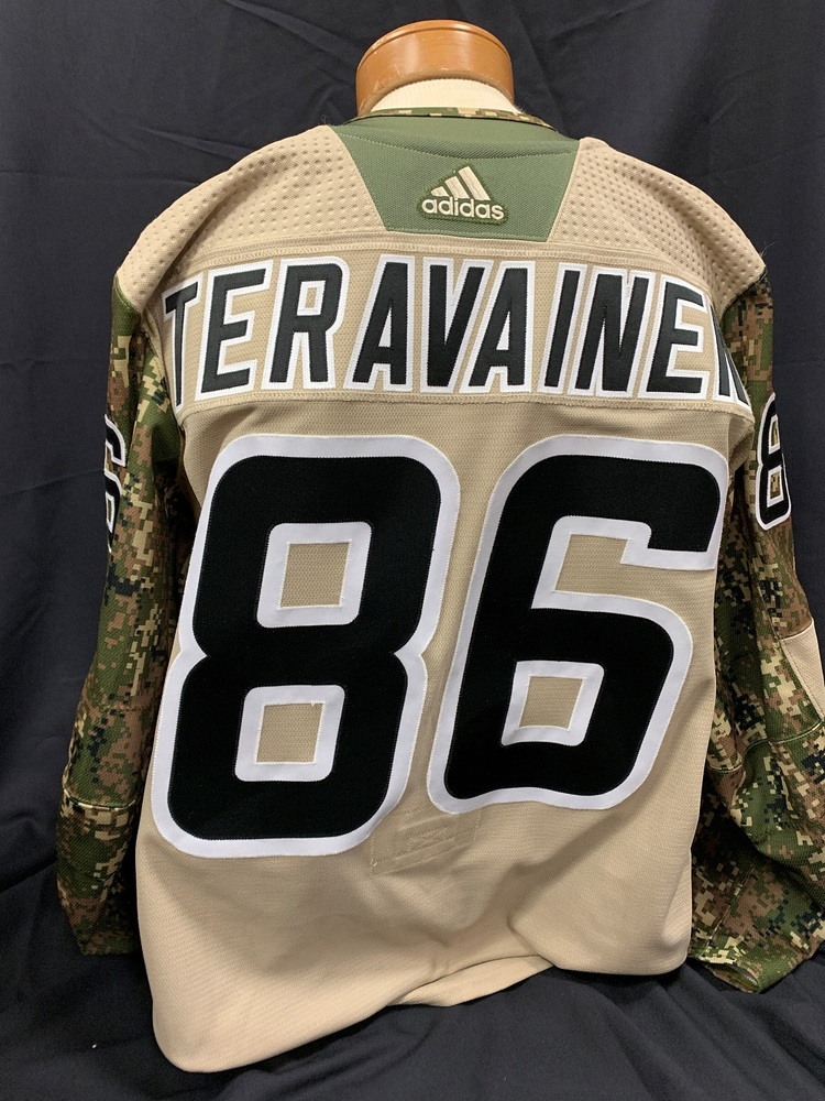 Teuvo Teravainen #86 Autographed, Warm Up Worn Military Appreciation Jersey