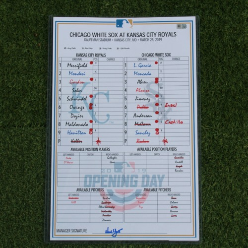 Photo of Game-Used Line-Up Card: 2019 Opening Day