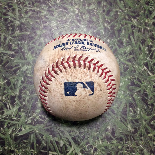 Photo of Game-Used Baseball WSH@MIL 05/07/19 - Stephen Strasburg - Ben Gamel: Strikeout