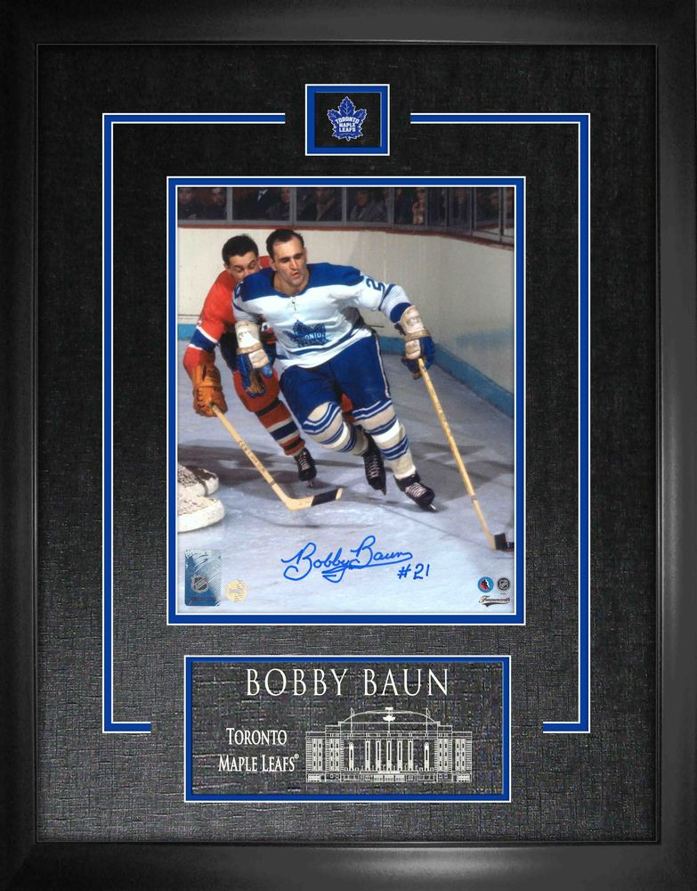 Bobby Baun Signed 8x10 Etched Mat Leafs vs Canadiens-V