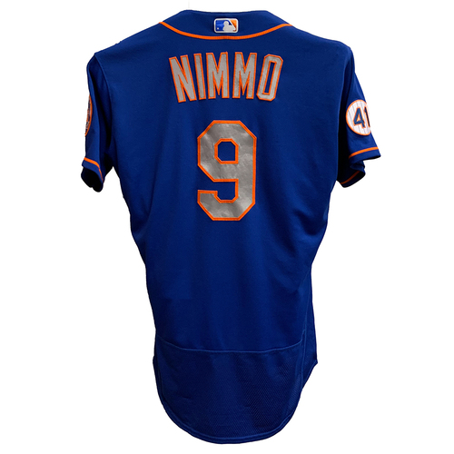 Photo of Brandon Nimmo #9 - Game Used Blue Alt. Road Jersey - Mets vs. Brewers - 9/26/21 - Also Worn on 7/3/21, Goes 3-6, 2 Runs Scored - Mets vs. Yankees