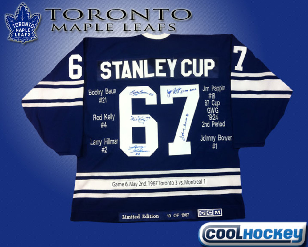 Toronto Maple Leafs 67 CUP Limited Custom Jersey Signed by Bower, Pappin, Kelly, Baun & Hillman