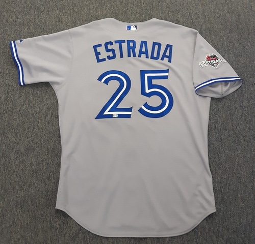Photo of Authenticated Team Issued 2015 Postseason Jersey - #25 Marco Estrada. Size 46.