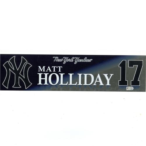 Photo of Matt Holliday New York Yankees 2017 Game-Used #17 Locker Room Nameplate (10/1/2017)