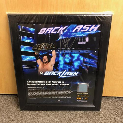AJ Styles SIGNED BackLash 2016 Signature Series Ring Canvas Plaque (#2 of 10)