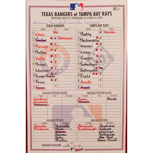 Rangers at Rays - 4/16/18 - Game-Used Lineup Card