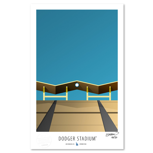 Photo of Dodger Stadium - Collector's Edition Minimalist Art Print by S. Preston #119/350  - Los Angeles Dodgers