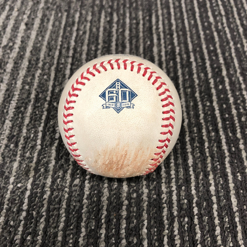 Photo of 2018 Game Used Baseball vs. Atlanta Braves on 9/10 - T-3: Dereck Rodriguez to Ronald Acuna - Ball 2