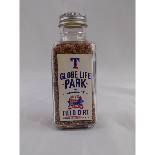 Photo of Game-Used Dirt Bottle - Globe Life Park Final Season Dirt