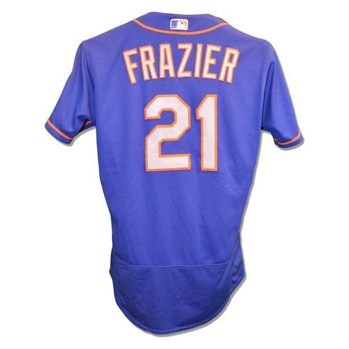 Photo of Todd Frazier #21 - Game Used Blue Alt. Road Jersey - 1-4, Double, 3 RBI, 1 BB - Mets vs. Marlins - 8/11/18