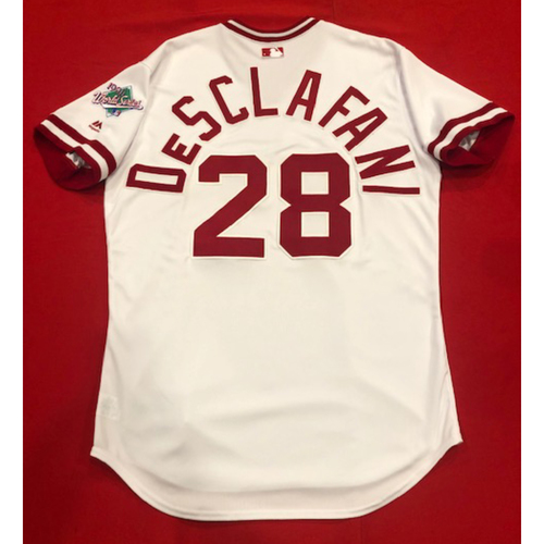 Photo of Anthony DeSclafani -- Game-Used 1990 Throwback Jersey & Pants -- Cardinals vs. Reds on Aug. 18, 2019 -- Jersey Size 46 / Pants Size: 35-40-17