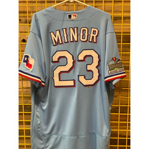 Photo of Mike Minor Team-Issued Baby Blue Jersey