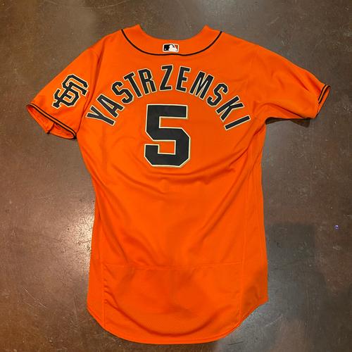 Photo of 2021 Game Used Orange Home Alt Jersey worn by #5 Mike Yastrzemski on 4/23 vs. MIA - 2-3, HR, 2 RBI, 2 R, BB - Size 42