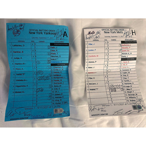 Photo of UMPS CARE AUCTION: Official Lineup Cards from 9/11 Yankees-Mets Game, Signed by Managers plus Umpire Crew