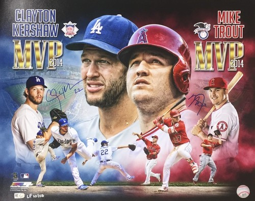 Photo of Clayton Kershaw & Mike Trout Dual Autographed 16x20 - 2014 MVP's