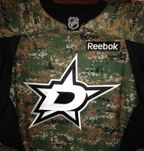 Dallas Stars' Alex Chiasson's Camo Warm-Up Jersey