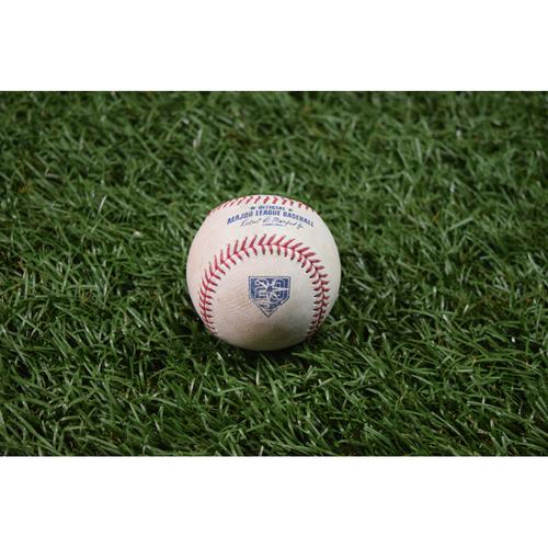 Photo of 20th Anniversary Game Used Baseball: Manny Machado single off Sergio Romo - May 27, 2018 vs BAL