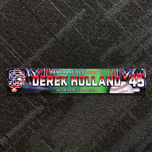 Photo of San Francisco Giants - 2018 4th of July Locker Tag - Derek Holland