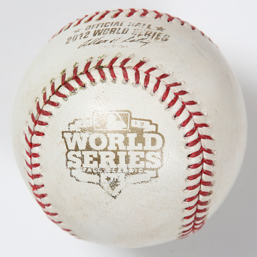 Photo of Game-Used Baseball: 2012 World Series Game 4 - San Francisco Giants at Detroit Tigers - Batter: Gerald Laird, Pitcher: Matt Cain - Bottom of 5, Foul Ball