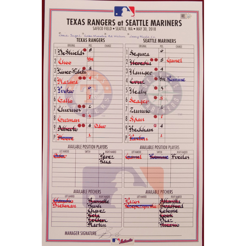 Rangers at Mariners - 5/30/18 - Game-Used Lineup Card