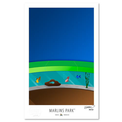 Photo of Marlins Park  - Collector's Edition Minimalist Art Print by S. Preston #119/350  - Miami Marlins