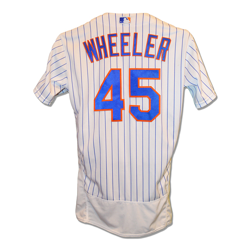 Photo of Zack Wheeler #45 - Game Used White Pinstripe Jersey - First Career Home Run, 7 IP, 11 K's; Earns Second Win of 2019 - Mets vs. Phillies - 4/23/19 - 7 IP, 11 K's; Earns Third Win of 2019 - Mets vs. Marlins - 5/10/19