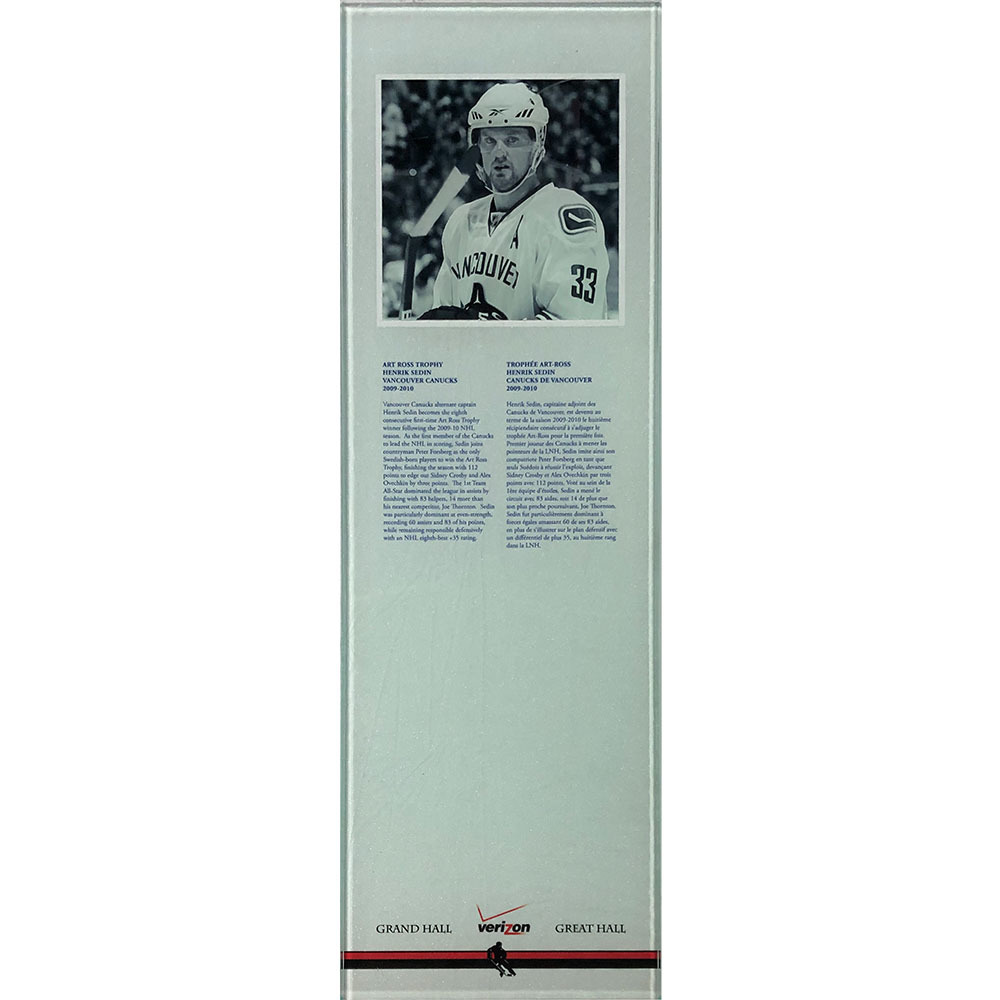 Henrik Sedin 2009-10 Art Ross Trophy Plexiglass Plaque - Once on Display in the HOF's Great Hall