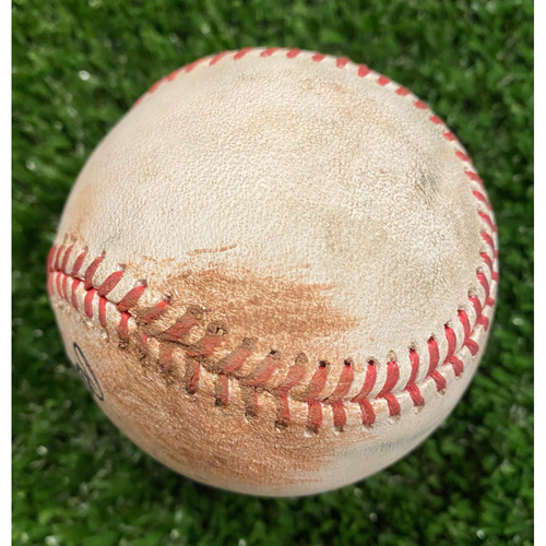 Photo of Game Used Baseball - Batter: Ronald Acuna, Jr., Pitcher: Pablo Lopez, Ball - September 9, 2020 - Braves Break NL Record for Most Runs Scored in a Game with 29 Runs