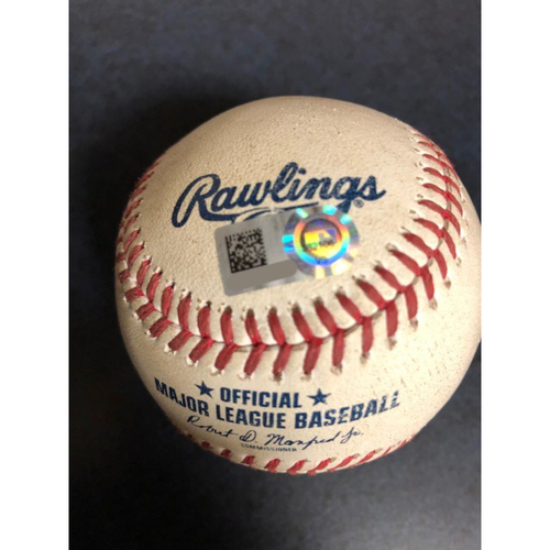 Photo of Game-Used Baseball - 2020 ALCS - Houston Astros vs. Tampa Bay Rays - Game 7 - Pitcher: Lance McCullers Jr., Batter: Mike Zunino (Home Run) - Bot 2