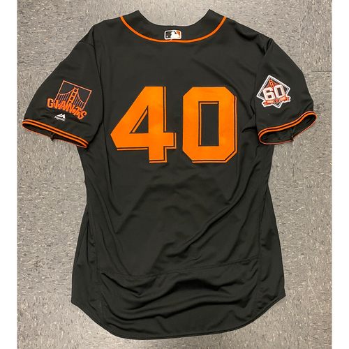 Photo of 2018 Game Used Black Home Alt Jersey worn by #40 Madison Bumgarner on 7/14 vs. OAK - Size 50