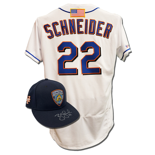 Photo of Brian Schneider #22 - Autographed Game Used First Responder Hat and Game Used White Commemorative Jersey with American Flag Patch - Mets vs. Yankees - 9/11/2021
