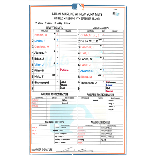 Photo of Game Used Lineup Card - Game 1 of Double Header; Stroman Earns 10th Win, First Career Stolen Base - Lindor 2-4, HR (19), Mets Win 5-2 - Mets vs. Marlins - 9/28/21