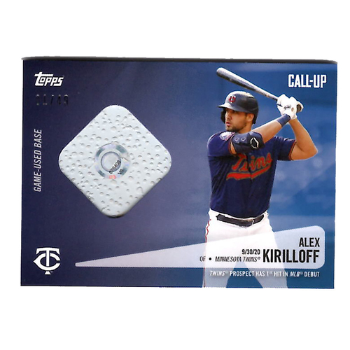 Photo of Alex Kirilloff #19 - Limited Edition of 49 Purple Topps Card - Features Authenticated Game Used Base from MLB Debut during 2020 Wild Card Game on 9/30/19 vs. Houston Astros