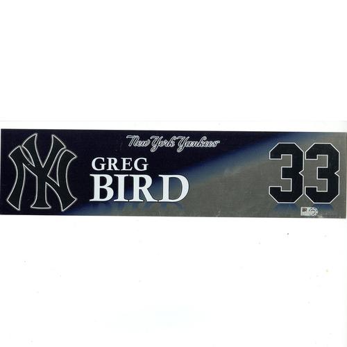 Photo of Greg Bird New York Yankees 2017 Game-Used #33 Locker Room Nameplate (9/29/2017)