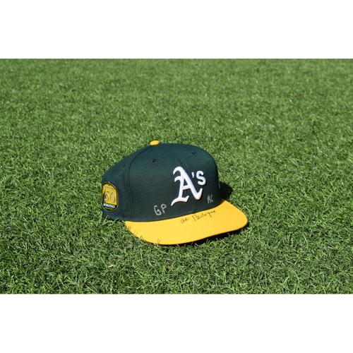 Photo of Oakland Athletics Game Used Autographed Al Pedrique 50th Anniversary Cap